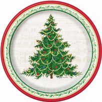 "Classic Christmas Tree 10.25"" Banquet Plates (8)"